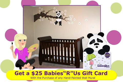 A promotional postcard showing a panda wall mural in a baby's nursery. The panda holds a $25 BabiesRUs gift card.