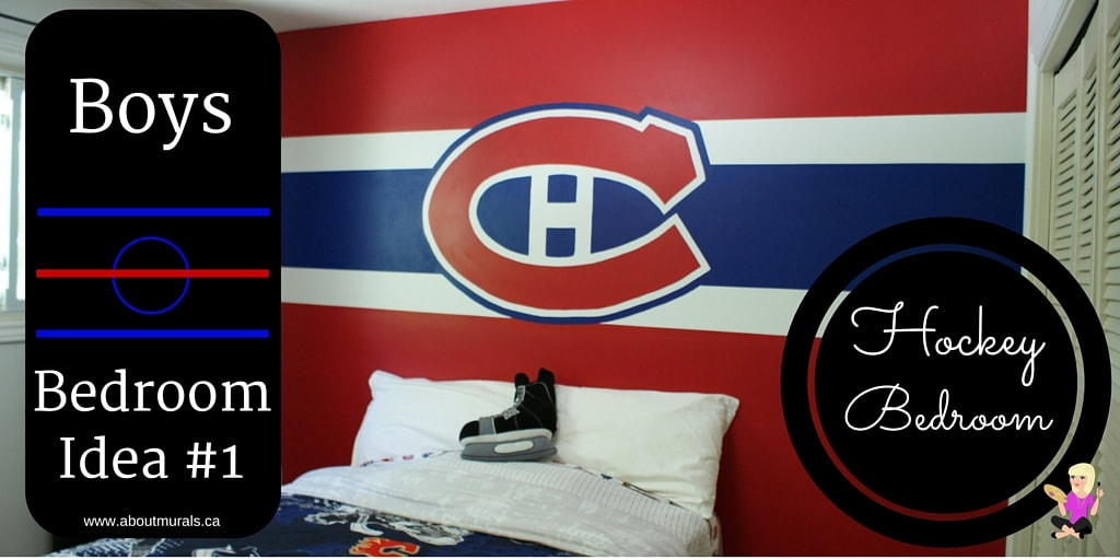 A photo of a hand-painted Montreal Canadiens logo mural on a bedroom wall