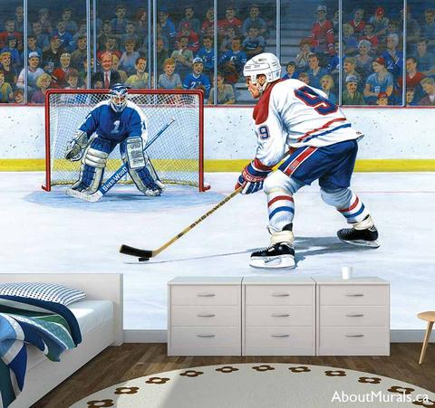 A hockey wall mural with a player ready to take a shot at the goalie, while fans cheer their favourite team on.
