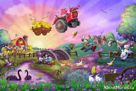 A farm wall mural with a pig flying in a tractor over a barn while cows, horses, donkey, ducks and a dog watch