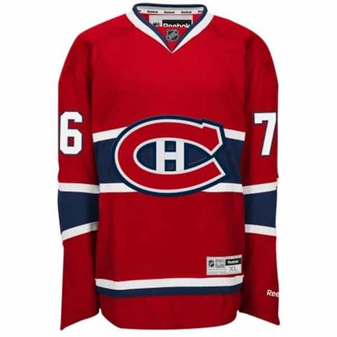 A red Montreal Canadiens hockey jersey
