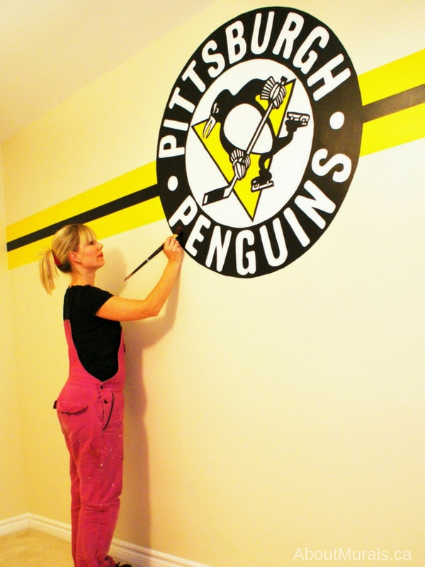 A Pittsburgh Penguins mural painted by Adrienne of AboutMurals.ca