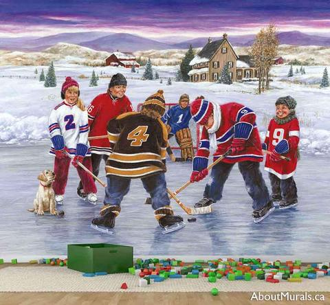 A wall mural with 6 kids playing ice hockey on a frozen pond. They are each wearing a favourite hockey jersey.