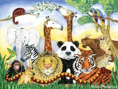 A kids wall mural featuring an elephant, tiger, lion, giraffe, monkey, rhino, zebra, snake and birds under a tree.
