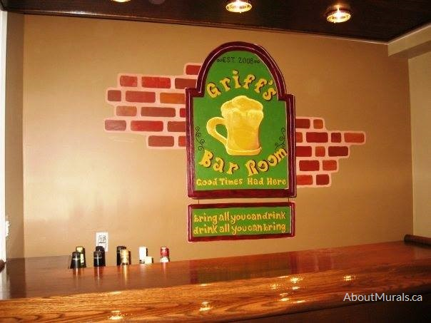 A bar mural painted by Adrienne of AboutMurals.ca