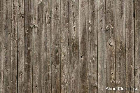 A wall mural featuring rustic, brown barn wood from a high resolution photograph