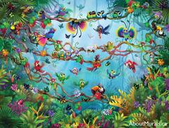 A kids wall mural featuring tropical birds flying in a jungle.