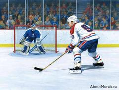 A wall mural featuring a hockey player taking a shot at the goalie while sports fans watch from the stands
