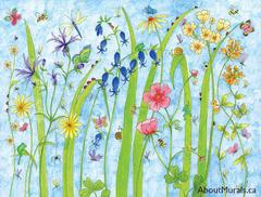 A wall mural featuring a garden of flowers with bees, ladybugs, dragonflies, butterflies and snails
