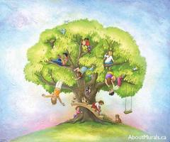 A kids wall mural featuring children in a tree house hanging upside down, reading a book and discovering animals
