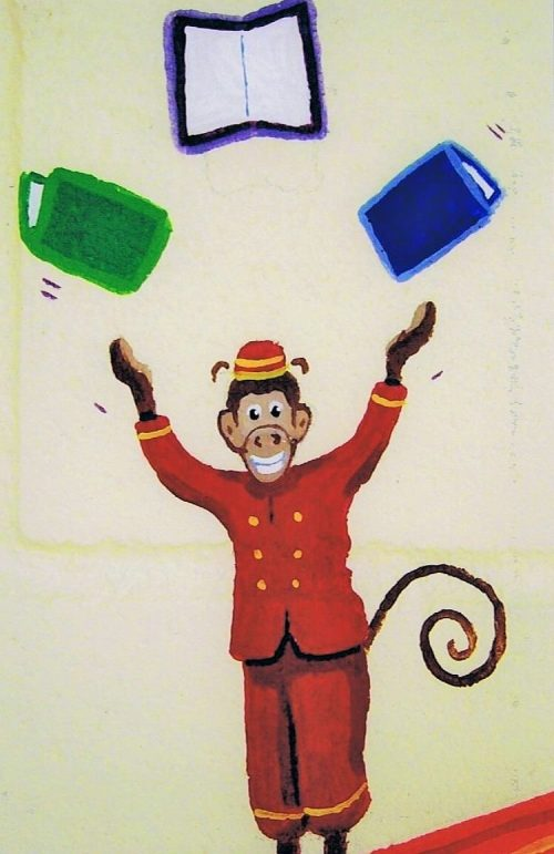 A circus mural featuring a monkey juggling books, painted by Adrienne of AboutMurals.ca