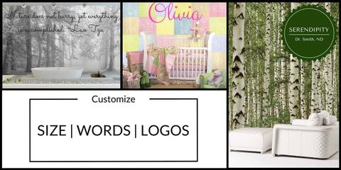 Create custom wall murals with words, logos or sizing at AboutMurals.ca
