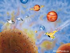 A kids wall mural featuring UFOs and ships flying in outer space among planets