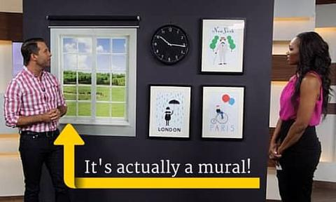 A TV host and an interior designer use a custom wall mural to act as an off centre window, teaching how to decorate around it.