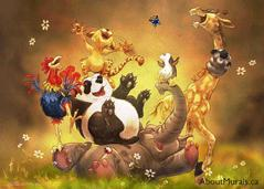 A wall mural on wallpaper featuring a panda, chicken, giraffe, elephant and cat giggling on the ground