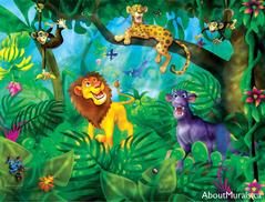 A kids wall mural featuring a lion, cheetah, panther and monkey in the jungle.