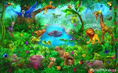 A kids wall mural with a giraffe, lion, cheetah, panther, monkeys, hippo, turtles and birds under trees and in the lagoon