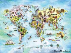 A kids wall mural featuring a world map with animals, people and ways to travel like a boat, airplane and hot air balloon