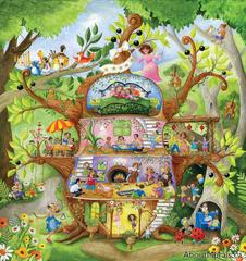 A kids wall mural featuring animals and children playing musical instruments in a playhouse shaped like a cello in a forest