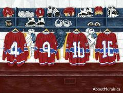A sports wall mural featuring four montreal canadiens hockey jerseys hanging in a locker room