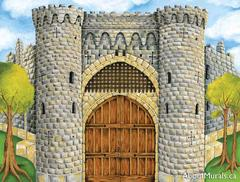 A wall mural featuring a grey stone medieval castle with a brown, wooden door