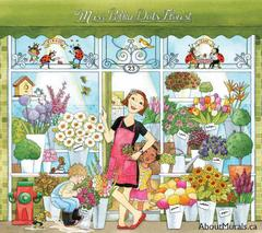 A kids wall mural featuring a florist standing in the doorway of her shop surrounded by flowers