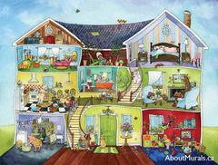 A kids wall mural featuring animals living in a house