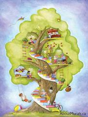 A kids wall mural featuring kids in a tree house, swinging on a swing, picking apples, reading a book and having a nap