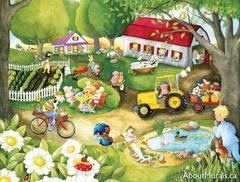 A kids wall mural with farm animals doing the farmers work