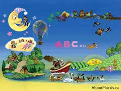 A kids wall mural featuring sleeping kids under a moon dreaming of the alphabet, a hot air balloon, an airplane, and a boat.