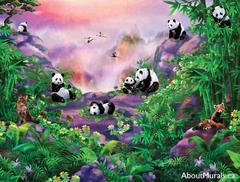Panda wall mural on wallpaper featuring pandas in a lush jungle