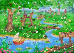 A wall mural featuring cats, dogs and bunnies in a park with a stream and flowers