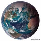 A wall mural featuring the planet earth
