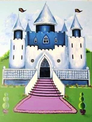A princess mural featuring a royal castle painted by Adrienne of AboutMurals.ca