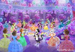 A kids wall mural featuring princess cats wearing gowns dancing in a purple ballroom