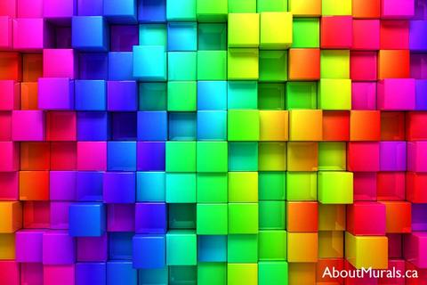 A wall mural featuring geometric cubes, in a rainbow colour, stacked on each other