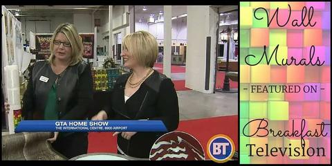 Two women showcase wall murals at the GTA Home Show on Breakfast Television