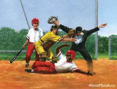"""A kids wall mural featuring a baseball player sliding into home base, while the umpire screams, """"Safe!"""""""