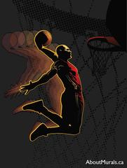 A wall mural featuring a basketball player slamming his basketball into the basket