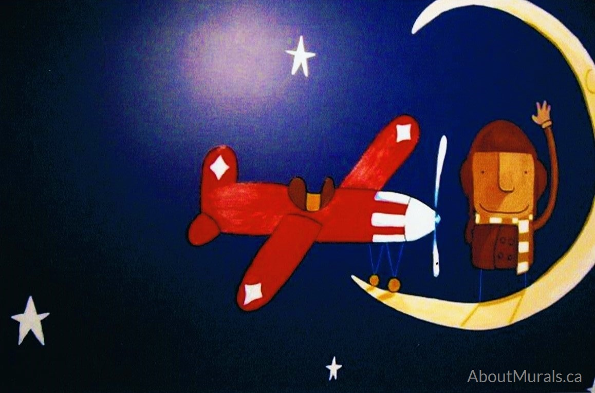A space wall mural featuring an airplane on the moon, painted by Adrienne of AboutMurals.ca