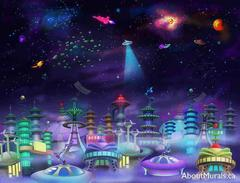A kids wall mural featuring a city in space with UFOs and ships flying in a purple sky