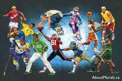 A kids wall mural featuring athletes playing their sport, including football, basketball, baseball, soccer, snowboarding, tennis and hockey