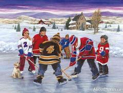 A wall mural with kids playing ice hockey on a frozen pond wearing their favourite team jerseys