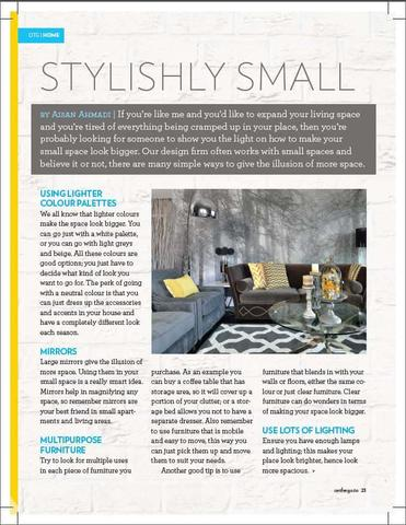 "Page 1 of a magazine article called ""Stylishly Small"" featuring the Autumn is Here wall mural from AboutMurals.ca"