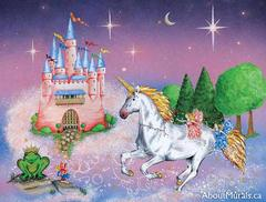 A kids wall mural featuring a princess castle and royal unicorn under a purple starry sky