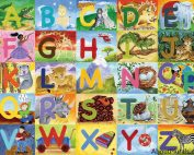Alphabet wall mural features letters and a corresponding toy or animal. Removable wallpaper sold by AboutMurals.ca