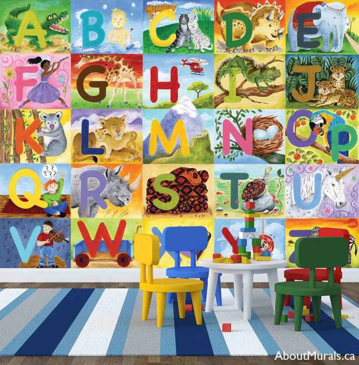 Alphabet wall mural, as seen in this playroom, features every letter and a matching toy or animal. Removable wallpaper sold by AboutMurals.ca