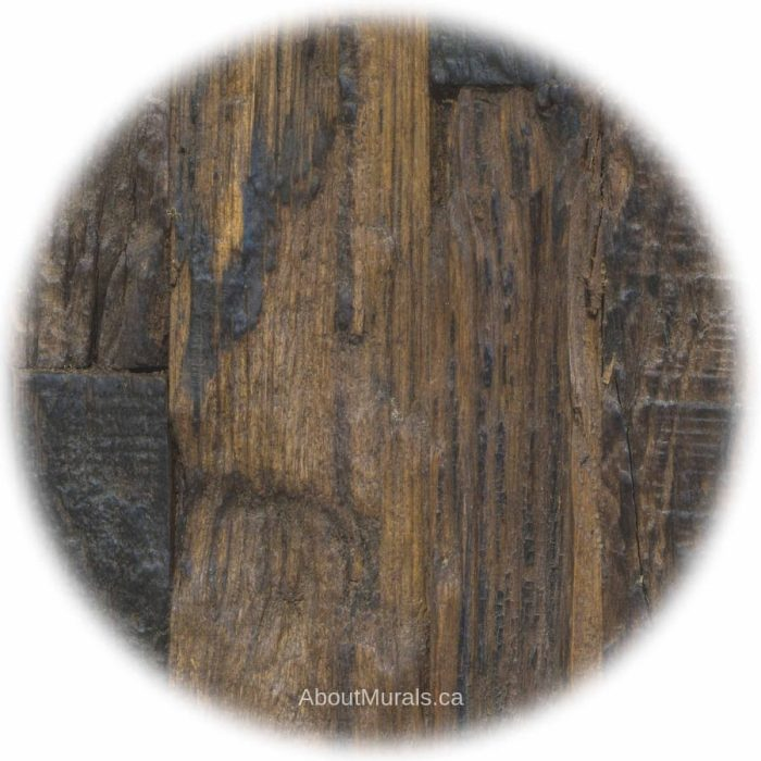 A close up photo of an antique wood wall mural, sold by AboutMurals.ca
