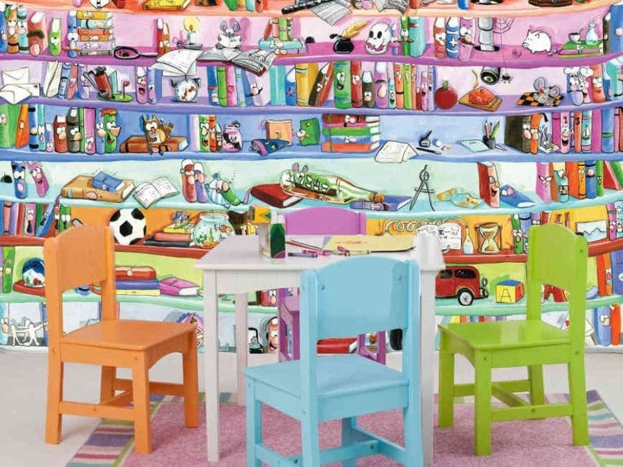 Bookcase Wall Mural For Kids Walls About Murals