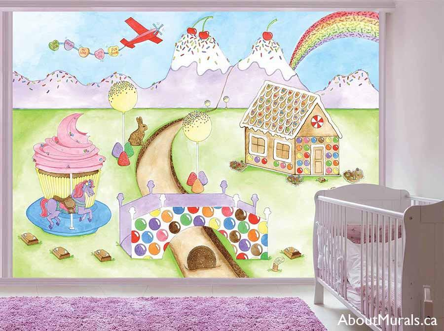 A candy mural featuring a horse on a cupcake carousel, gingerbread house, flowing chocolate river, bubblegum bridge, ice cream mountains and a candy rainbow painted by AboutMurals.ca